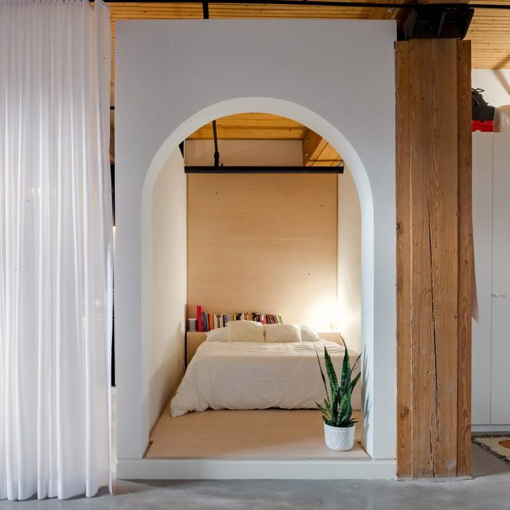 Broadview Loft by Studio AC | White box forms sleeping nook in Toronto loft by StudioAC
