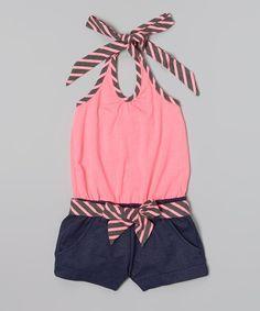 Another great find on #zulily! Pink Stripe Belted Halter Romper - Toddler & Girls by Unik #zulilyfinds