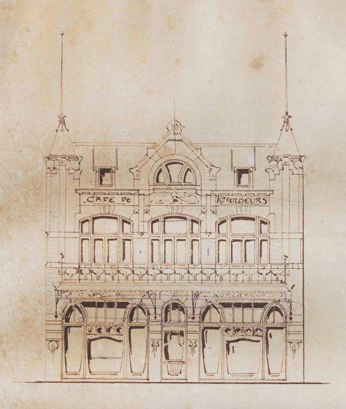 Tekening van de Korenbeurs in Helmond. Op 7 augustus 1839 komt notaris van de Ven aan huis bij Hendrikus van Asten in Helmond om een akte op te maken. Deze wil zijn derde deel in de nagelaten onroerende goederen van zijn grootmoeder. Doorklikken!