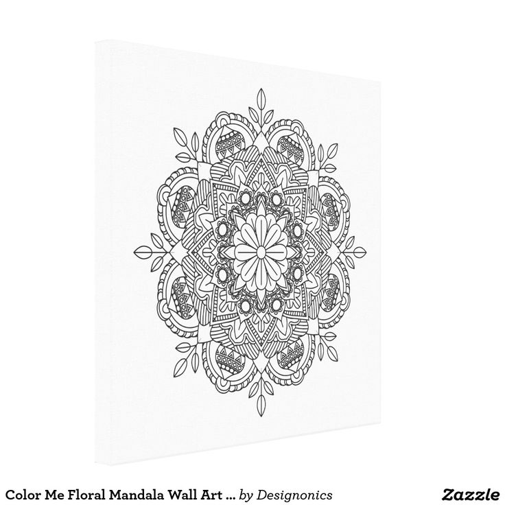 Color Me Floral Mandala Wall Art Coloring Canvas