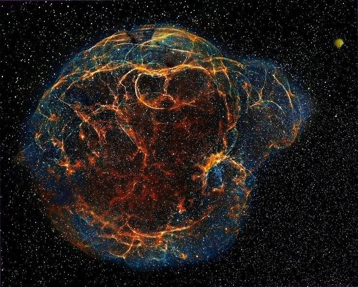 Simeis 147 (Spaghetti Nebula) is a large supernova remnant in the constellations of Taurus and Auriga. It is a result of a supernova explosion about 40 000 years ago. This nebula covers about 3° and is approx. 3000 ly away which means that it is about 140 ly across. Picture by Emil Ivanov