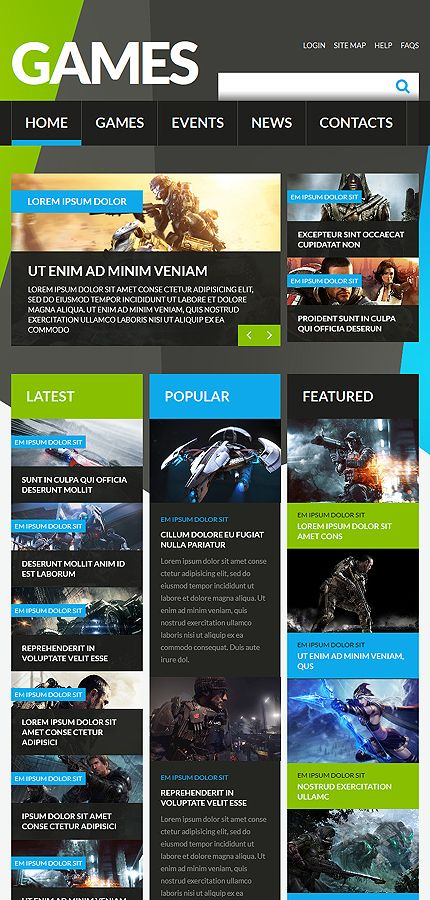 Games • Most Popular •  Espresso Web Inspiration at your Coffee Break! Joomla • Template #52407