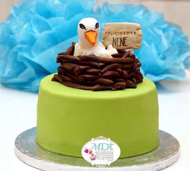Una cigueña para un Biologo A new born stork  cake for a Biologist birthday