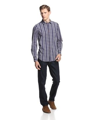 Ben Sherman Men's Laundered Mixed Density Check Woven Shirt (Blue Depths)