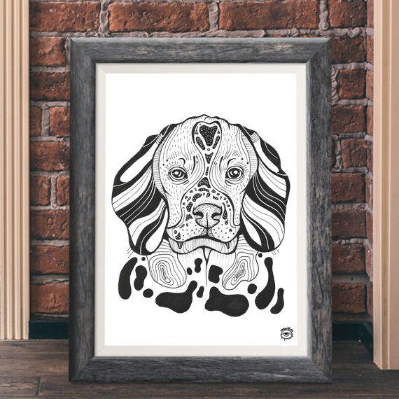 Beagle Dog A4 A5 illustration print art dog print dog by mmuffn