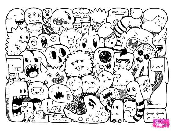 3 Doodle Monster Coloring Pages In 2019 Zentangle