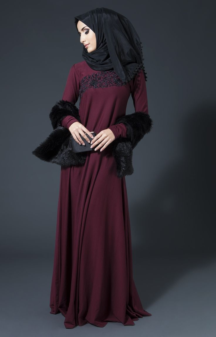 Silk Threads - Winter Plum AabCollection Embroidery Edit  Abaya Chic
