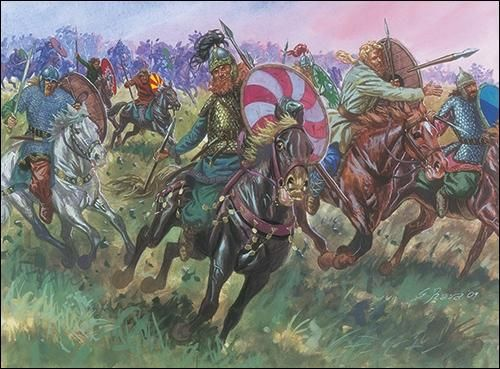 The victorious Gothic horsemen now wheeled inward, attacking the flanks and rear of the Roman infantry. At that moment, the Gothic foot sallied forth from their camp and assailing the Romans from the front; driving them back to the base of the slope. Valens and his men found themselves surrounded, assailed from every direction.