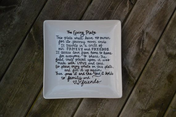 10x10 white ceramic plate with black hand-written cursive print. This charming plate is the perfect way to bring goodies to your upcoming holiday gatherings. Pass the love!  Plates may vary somewhat based on available inventory. Even if the plates style is different from the sample photos, your plate will still be a 10x10 white, square plate.  Front Text Reads: This plate shall have no owner for its journey never ends. It travels in a circle of our family and friends. It carries love from…