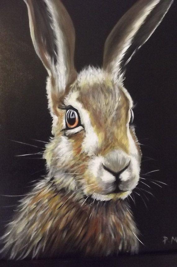 Einer Der Eine Art Acrylgemälde Einen Braun Hasen 22 X 26