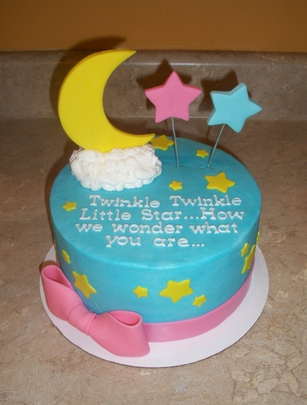 changed my mind this is the cutest! I could do such a gender reveal party around this cake plus it reminds me of what I used to tell you girls... I love you to the moon and stars!