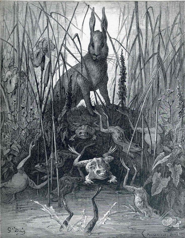 Gustave Dore. The Hare and the Frogs, from 'The Fables' of La Fontaine / Le lapin et les grenouilles, c.1868.