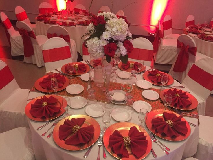 Las Trancas Banquet Hall Gold And Red Wedding Table Setting! So Elegant