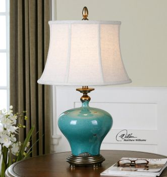 Daveigh Teal Blue Ceramic Table Lamps 1 in stock