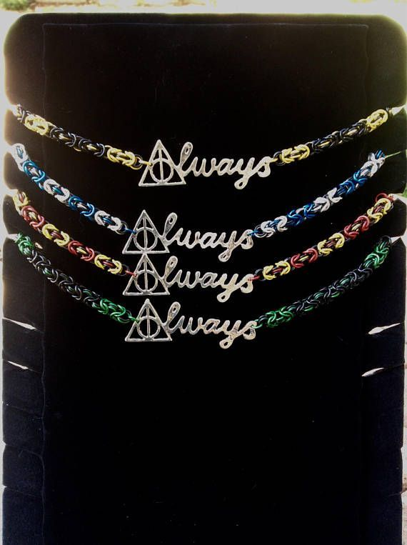Wizard Pride Always necklace- all the house colors for Harry Potter #chainmaile #wizard #wizardpride #harrypotter #always #affiliate