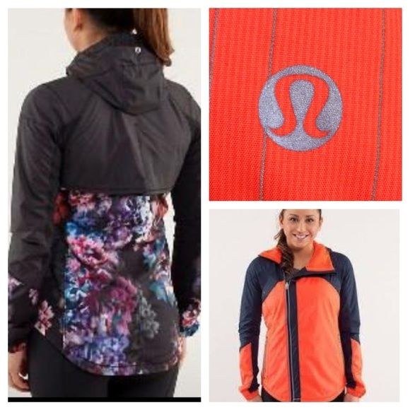 Lululemon Run: Get Up and Glow Jacket - NWOT Color - Light Flare and Inkwell. Swift outer fabric finished with DWR to protect against light rain. Offset zipper. Lined with Coolmax fabric. Set my pony free window in the hood. Mesh underarms. Zipper pocket with cord exit. Contoured hem. New with out tags . No trades. No PayPal. lululemon athletica Jackets & Coats