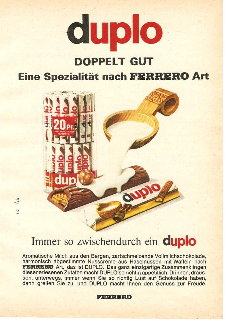 """20 Pfennig kostete der #duplo Schokoriegel von #Ferreo im Jahre 1966 laut dieser Werbung. In Deutschland kam diese Leckerei 1964 auf den Markt. Laut der Werbebotschaft ist duplo doppelt gut, daher auch der Name (""""duplus"""" bedeutet doppelt)."""