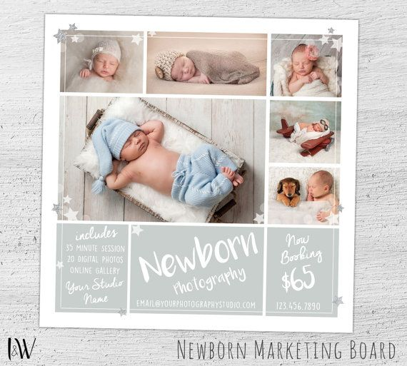 Pasgeboren Mini sessie Template, Photoshop Template voor Photogrphers, pasgeboren fotografie Marketing Board, Baby Fotografie - 02-004-MB-S