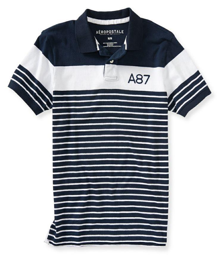 A87 Stripe Jersey Polo - Aeropostale