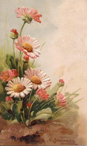 Vintage Daisies by Catherine Klein ~ LÁMINAS ANTIGUAS 3-Ideas y Trabajos terminados (pág. 629)   Aprender manualidades es facilisimo.com