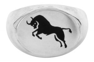 Double Taurus horoscope signet ring in sterling silver - $440