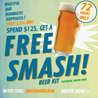 Homebrew Finds: Ends Today - Northern Brewer: Free SMASH Session Ale Kit with $125 purchase