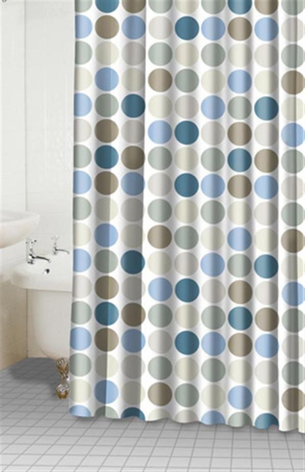 Cozy Homewares Dots Fabric Shower Curtain   Large Dots Adorn This Fabric Shower  Curtain. Dot Colors Include Various Shades Of Blue, Sage, And Brown/tan.