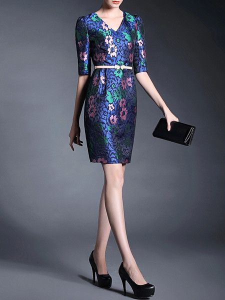 Blue Vintage Jacquard Mini Dress for #chic #woman