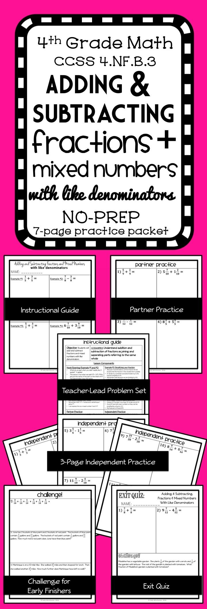 Adding and Subtracting Fractions and Mixed Numbers with Like Denominators: Complete 8-page Lesson Packet- Guided Notes and Exit Quiz, 4th Grade Math, 4.NF.3, Includes computation problems and word problems!