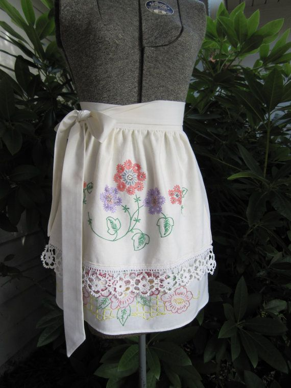 Vintage Style Half Apron Brides Maids Apron By Quirkyquail