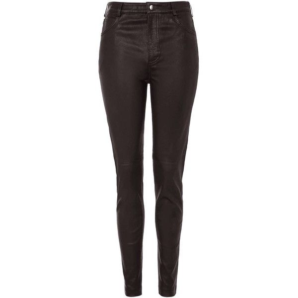TOPSHOP Premium Stretch Leather Oxblood Pants (690 AUD) ❤ liked on Polyvore featuring pants, oxblood, shiny pants, stretchy pants, stretch pants, pocket pants and leather skinny pants
