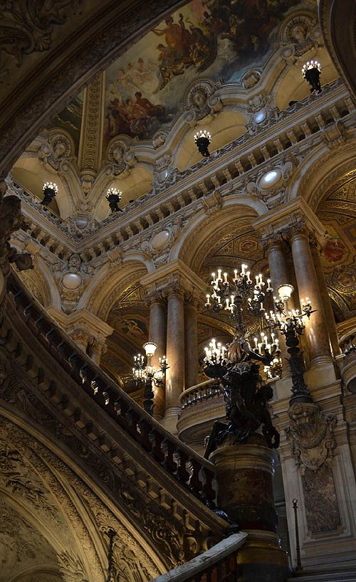 Staircase, Opéra Garnier, Paris  www.castlesandmanorhouses.com  The Palais Garnier is a 1,979-seat opera house, built from 1861 to 1875 for the Paris Opera. The theatre was known as the Opéra de Paris or simply the Opéra, but became known as the Palais Garnier in recognition of its opulence and its architect, Charles Garnier.