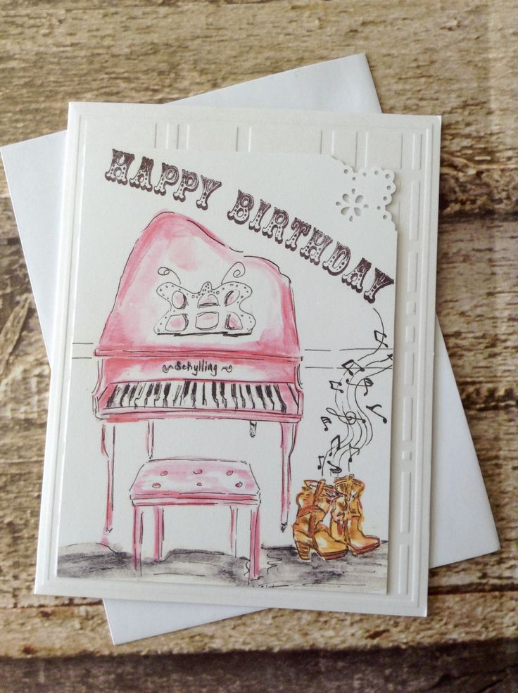 """Happy Birthday greeting card illustration of pink piano. Kick off your boots and sing a song!  """"Happy Birthday"""" text by littlesweetnotes on Etsy"""