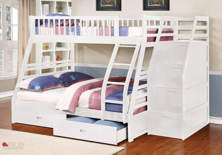 Fraser III White Twin over Full Bunk Bed with Storage Drawers and Stairway Chest | FREE Shipping at GoWFB.ca - Fraser III White Twin over Full Bunk Bed with Stairway Chest and Storage Drawers