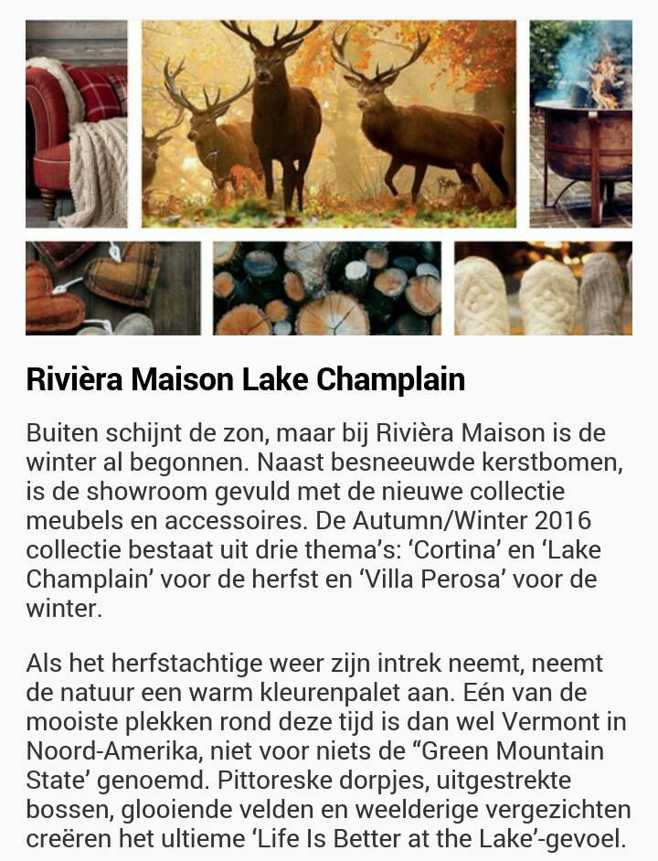 Riviera Maison thema 'Lake Champlain' fall/winter 2016