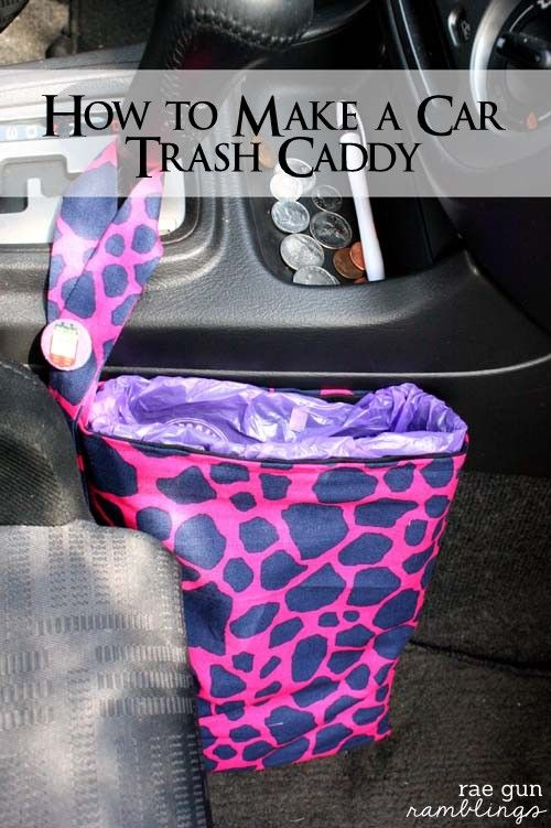 Car Trash Bag make a trash bag holder for the car in under an hour. Uses those doggie/diaper bags so brilliant