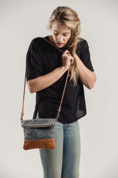 waxed canvas and leather crossbody