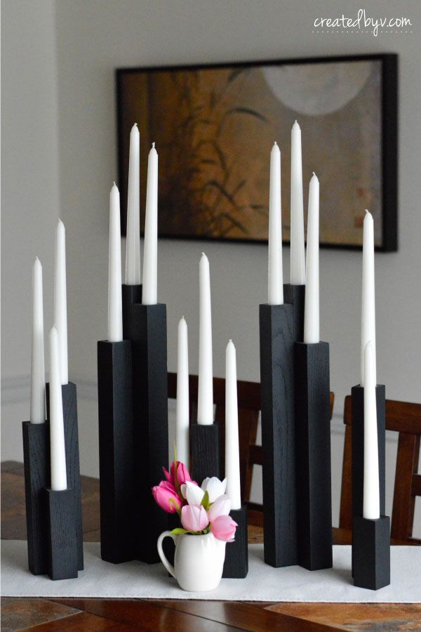 Diy Wooden Taper Candleholders Created By V Diy Candles Wooden Taper Candle Holders Diy Candle Holders
