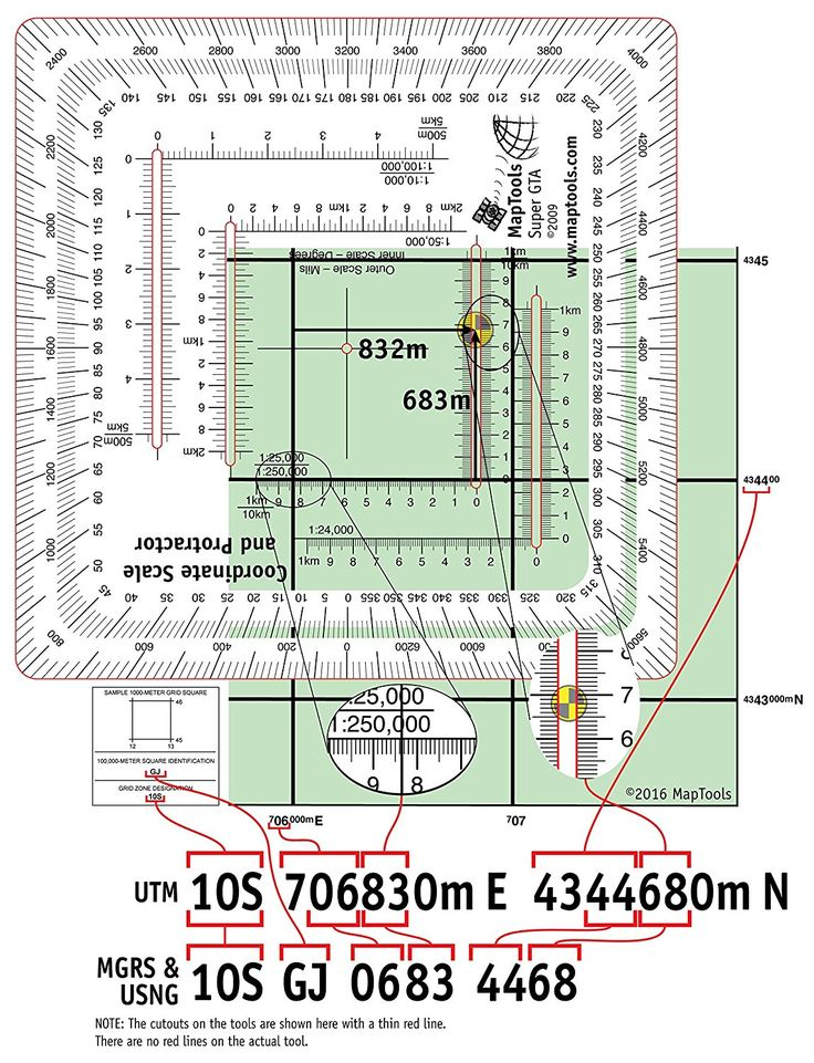Improved Military Style MGRS/UTM Coordinate Grid Reader, and Protractor - Outdoor Recreation Topographic Maps - Amazon.com