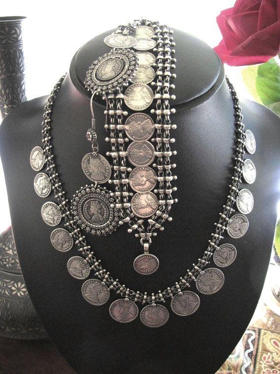 Vintage Indian Silver Necklace Bracelet Earrings Set