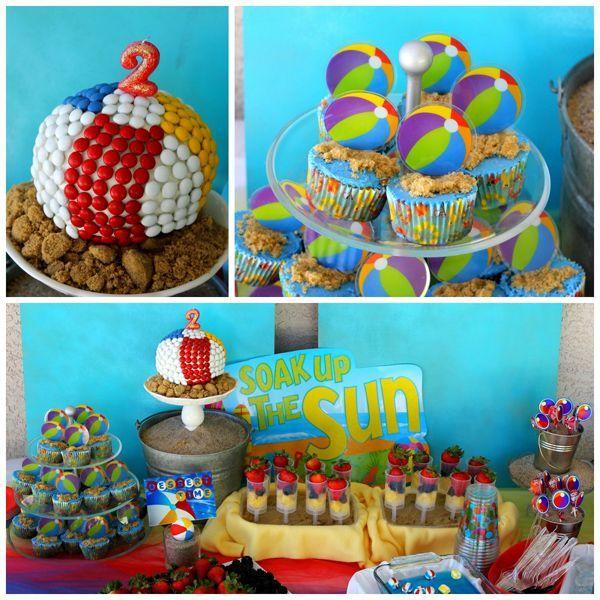 Beach Ball Birthday Party Theme Bash Red Blue Yellow Pool Water Kids Boy Girl
