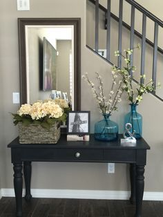 Entry way sofa table. Broyhill table repurposed with Annie Sloan Chalk paint in …