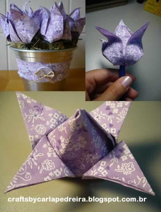 tulipas de tecido origami passo a passo