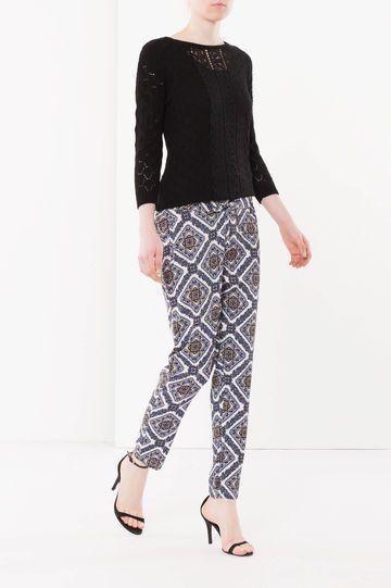 Pantaloni con coulisse, Bianco/Blu
