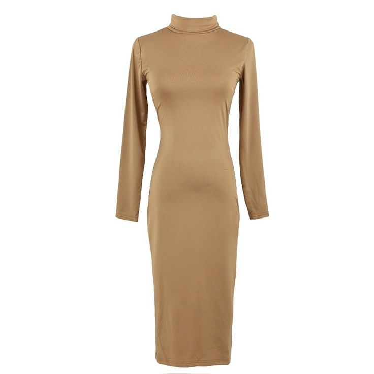 Eglemall Women Turtleneck Pencil Mid Length Bodycon Long Sleeve Sexy Club Party Dress ** See this great image  : Evening dresses