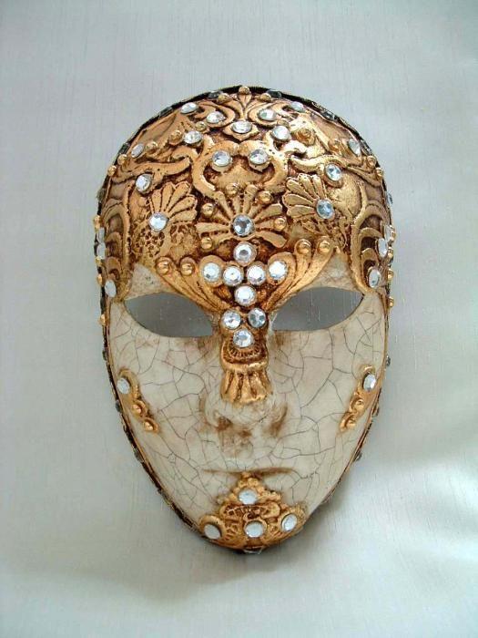 Full Face Gold Macrem� - Handmade Venetian Masks from Venice, Italy - 1001 Venetian Masks