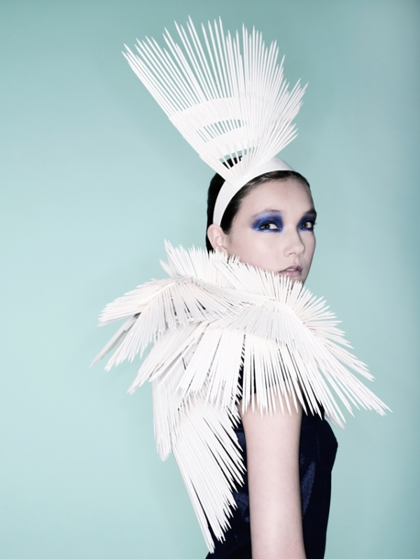 Grace Lepard (Central St Martins 2011) Wooden skewer head and shoulder piece    The aim of my icicle inspired piece crafted from wooden skewers is to give a glimpse of nature, its unmatched beauty and also to remind you of its value and fragile condition.