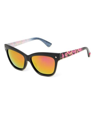 Love this Pink Floral-Temple Rectangle Sunglasses on #zulily! #zulilyfinds