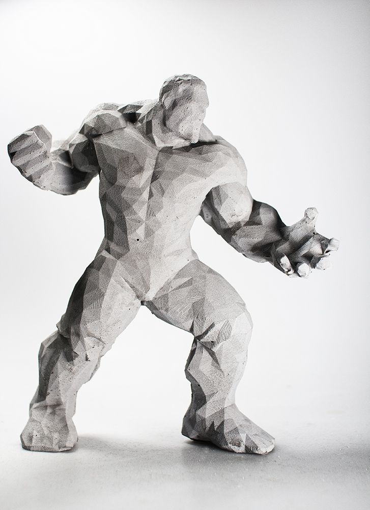 """The Incredible"" Sculpture made of concrete - Dekofigur Skulptur aus Beton - Marvel - Polygon Figur"