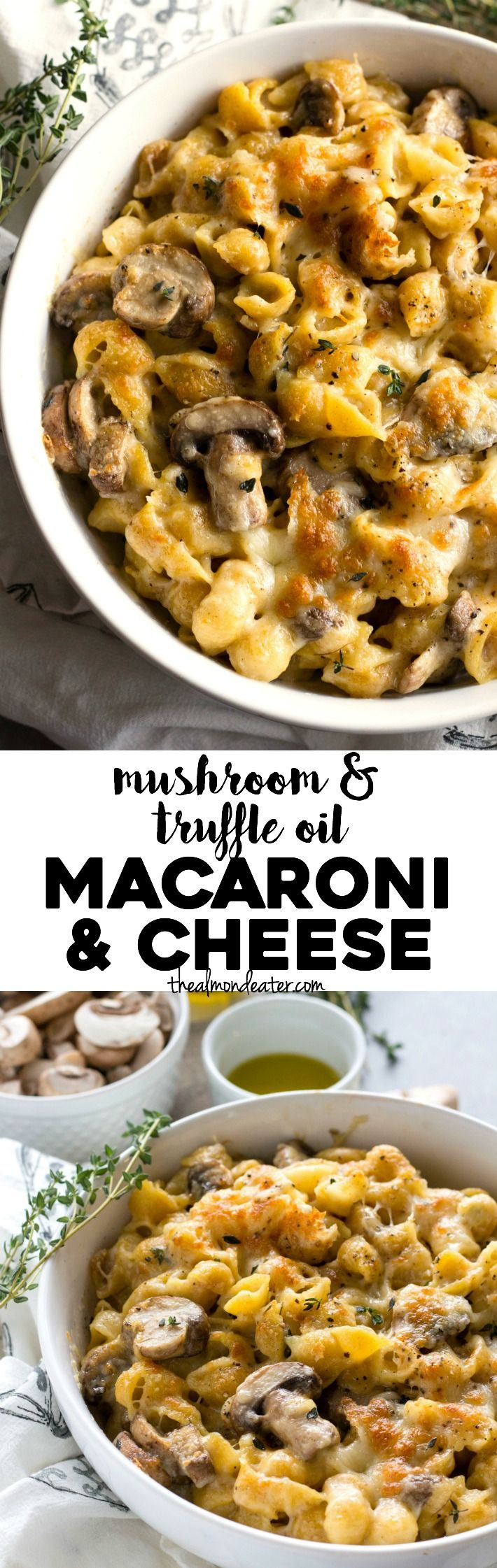 30 minutes and one skillet, this mac and cheese is filled with mushrooms, parmesan cheese and truffle oil. A quick dinner for all cheese lovers!